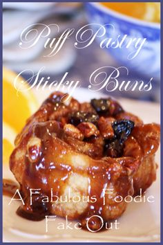 StoneGable: Fabulous Foodie Fake Outs - Puff Pastry Sticky Buns What's For Breakfast, Breakfast Recipes, Dessert Recipes, Breakfast Dishes, Just Desserts, Delicious Desserts, Yummy Food, Delicious Dishes, Puff Pastry Recipes