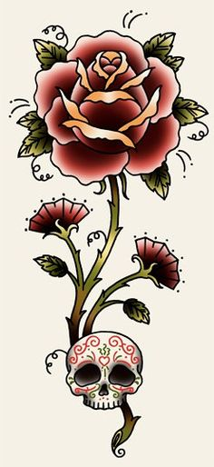 Rose n' Skull  From:  angelique-houtkamp  colour and shape