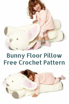 Crochet Bunny Floor Pillow Free Pattern -Fun Crochet For Kids - Knit And Crochet Daily