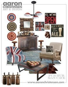 Man Cave Ideas Mood Board - Updated English Pub