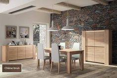 Salle à manger complète contemporaine BRYO III, coloris chêne clair ou chêne foncé avec éclairage en option