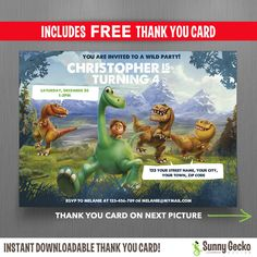 Disney The Good Dinosaur 7x5 in. Birthday Party Invitation - with FREE editable Thank you Card - Edit with Adobe Reader by SunnyGeckoDesign on Etsy