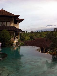 A pool with a rather nice view in Sidemen, Bali.