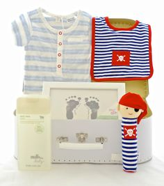 Sweet Arrivals latest hamper with matching pirate bib and pirate Squeeker  by Alimrose.