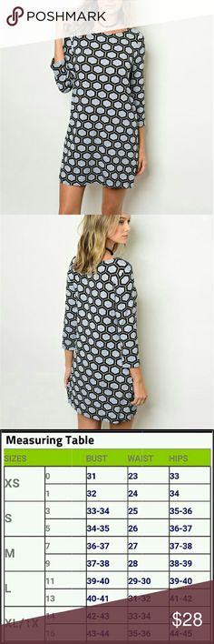 SALE! (1 Medium left) Grey patterned dress 3/4 sleeve grey patterned dress  **8bin  ( storage note to self) Chupchick  Dresses Midi