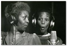 In the studio with her mom.