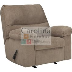 """Soft Reclining chairs With the plush comfort of the thick padded arms and supportive bustle back design, the relaxed contemporary look of the Ashley Benchcraft """"Roldan-Mocha"""" Rocker Recliner is the perfect fusion of style and comfort."""
