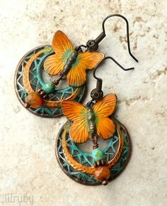 July challenge - hand painted butterflies and B'Sue rusty black filigree hoops.www.lilruby.etsy.com