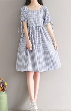 b7e2d03fab Women loose fit over plus size retro plaid checker pocket dress bow ribbon  tunic