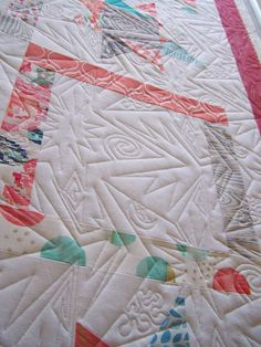 A couple new modern designs on sister quilts. Quilted by Sculptured Thread Quilting