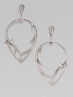 Stephen Webster - Ruby & Sterling Silver Thorn Earrings - Saks.com