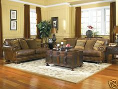 AUSTIN-TRADITIONAL COUNTRY GENUINE LEATHER SOFA COUCH LIVING ROOM SET FURNITURE