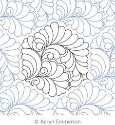 Digital Quilting Design Feather Hex by Keryn Emmerson. Quilting Stencils, Longarm Quilting, Free Motion Quilting, Machine Quilting Patterns, Quilt Patterns, Whole Cloth Quilts, Custom Quilts, Quilt Stitching, Sewing
