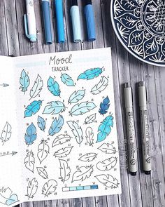 More than a half of march is already over so there is my partly filled mood tracker Fun fact: I drew all the feathers while I had to wait for my sister in the hospital (she had a surgery) All in all I really like to color things so I will keep it for next month Do you use mood trackers? Materials: Notebook @lemome_notebooks Fineliners @sakuraofamerica Marker @crayola Brushes @tombowusa . . . #bulletjournal #bulletjournaling #bujo #bulletjournalgermany #bulletjournaldeutschland #bujoinspir