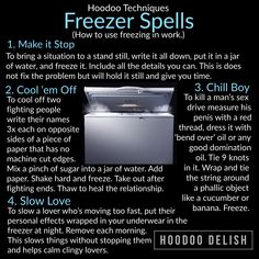"Although modern freezers are very different from the ice boxes that existed when Hoodoo began to develop, the idea of ""putting somethi… Hoodoo Spells, Magick Spells, Witchcraft Symbols, Magick Book, Candle Spells, Candle Magic, Spells For Beginners, Witchcraft For Beginners, Wiccan Spell Book"