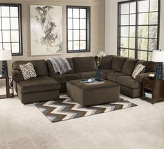Beau Signature Design By Ashley Jessa Place   Chocolate Casual Sectional Sofa  With Left Chaise   Miskelly Furniture   Sofa Sectional Jackson, Mississippi
