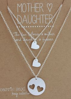 Mother Daughter Necklace Set mother's day by carriesaxl on Etsy