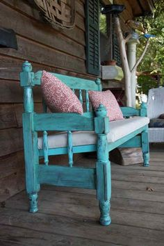 Artist Paige Self turns old beds into benches, columns into candlesticks, mantles into headboards and old flooring into frames. Furniture Projects, Furniture Makeover, Home Projects, Diy Furniture, Repurposed Furniture, Painted Furniture, Headboard Benches, Headboard Ideas, Old Beds