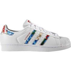 Womens adidas Superstar Athletic Shoe ❤ liked on Polyvore featuring shoes, athletic shoes, flexible shoes, laced up shoes, flower pattern shoes, adidas and leather upper shoes
