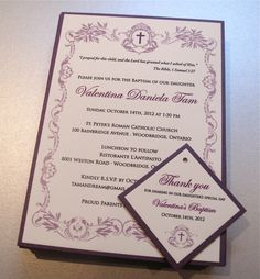 Ingledew Invites - Purple & Ivory Baptism Invitation
