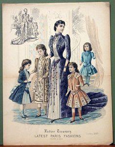 Very cute girls ensembles from Ladies Treasury, October 1889.