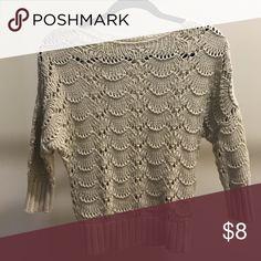LOFT 3/4 sleeve knit sweater Never worn, oatmeal colored knit sweater. Soft 100% cotton LOFT Sweaters Crew & Scoop Necks