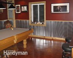 Woman Cave Ideas: Steel cave sports bar- Why should the men have all the fun? These man cave ideas would be perfect in a woman cave too! Read more: http://www.familyhandyman.com/basement/man-cave-ideas/view-all