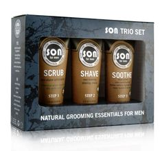 SON Trio Set Natural Grooming Essentials for Men includes pre-shave exfoliation Scrub, non-foaming Shave cream, and dual-action skin conditioning Soothe gel