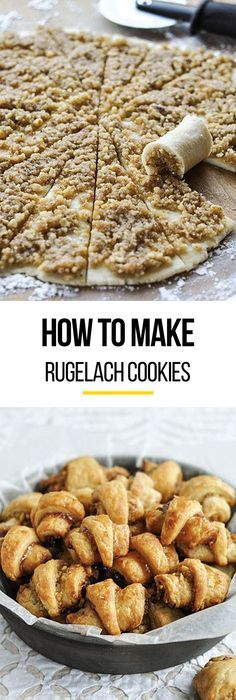 How To Make the BEST Rugelach Cookies. We LOVE this classic Christmas cookie recipe and break it down step by step so they're EASY to make at home. You can fill them with anything from ground nuts and (Peanut Butter Dessert Recipes) Rugelach Cookies, Rugelach Recipe, Classic Christmas Cookie Recipe, Cookie Recipes, Dessert Recipes, Bread Recipes, Holiday Cookies, Christmas Baking, Christmas Bread
