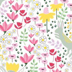 Garden bunny rabbits - BIG fabric by thislittlestreet on Spoonflower - custom fabric