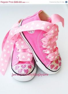 Infant Toddler Bling PINK HEARTS Crystal Pink Converse Hi-Top Sneakers  Shoes on Etsy f34591bd6d