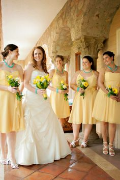 Adorable Yellow Bridesmaid Dresses With Turquoise Accents So Cute
