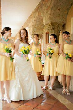 Bridesmaid dresses in sunflower yellow