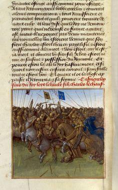 Jean Fouquet, Battle de la Vienne, from the Grandes Chroniques de France, c.1455-60 (source).
