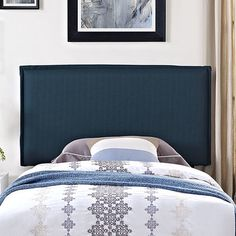 Camille Upholstered Panel Headboard Size: Twin, Upholstery: Azure - http://headboardspot.com/camille-upholstered-panel-headboard-size-twin-upholstery-azure-653789847/