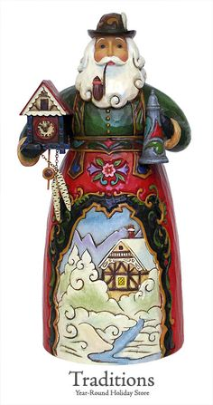 "JIM SHORE  GERMAN SANTA  ""FROKE WEINACHTMEN""  Resin 7x3"""