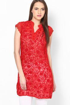 5dec6cd38af Faux Georgette Valentine Special Designer Western Wear Kurti In Red Colour  14