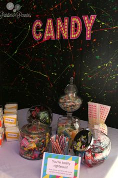 Love the black background - 80s Party - candy table 2