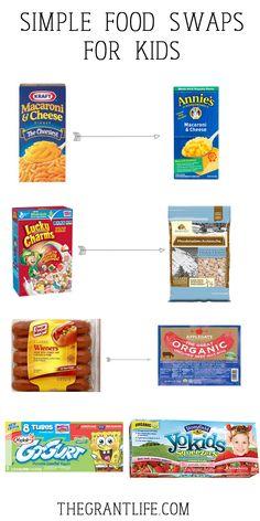 Simple Food Swaps for Kids - mom makes dinner Healthy Food Swaps, Healthy Meals For Kids, Healthy Food Alternatives, Easy Meals, Kids Meals, Healthy Snacks, Healthy Recipes, Whole Food Recipes, Kid Recipes