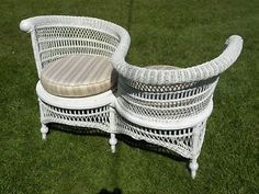 Wicker Tete-a-Tete~~Courting Bench~~Conversation Bench circa 1900