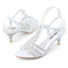 b224858bde1b Womens rhinestone dress heels silver wedding shoes evening ankle straps  cocktail