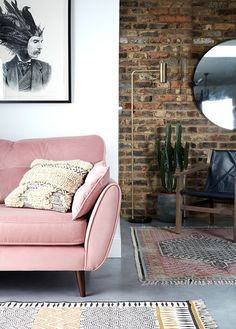 BritishStyleUK: French Connection Homeware where eclectic meets industrial - blush pink sofa and open brick wall Room, Home Decor, Living Room Wall, Living Room Inspiration, French Connection Home, Contemporary Room, French Connection Sofa, Living Decor, Pink Sofa