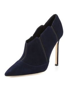 58a9515f474a Desolada Stretch-Inset Suede Ankle Boot Navy