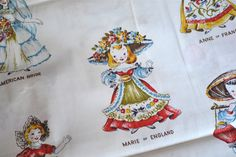 Vintage Fabric - Dolls of the World - By the Yard via Etsy Grey Stain, General Crafts, Vintage Cotton, Fabric Dolls, Makers Mark, Traditional Dresses, Greeting Cards, Yard, Crafty