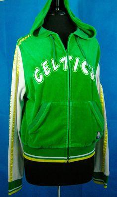 Boton Celtics Velour Zipper Jacket Hood XL Women's Retro Hardwood Classic Pocket #HardwoodClassicsSports #BostonCeltics