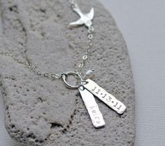 Personalized Mothers Necklace Name Necklace Swallow by cvennell
