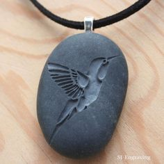 Hummingbird necklace -  Hand engraved beach stone necklace - Tiny PebbleGlyph Pendant