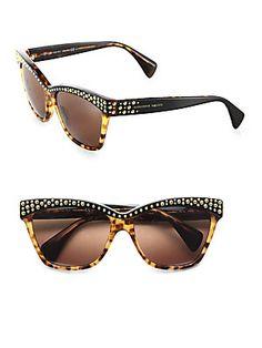 Alexander McQueen Studded Acetate Cat's-Eye Sunglasses (=)