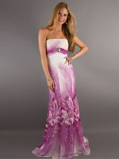 Floral Print Strapless Beaded Accents Full Length Evening Dresses
