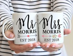 Need a mug for the newly engaged? Thess Mr & Mrs mugs are perfect to show off that new fiancé status! | Personalized Last Name Mug Set by www.ZCreateDesign.com or Shop ZCreateDesign on Etsy #weddinganniversarygifts